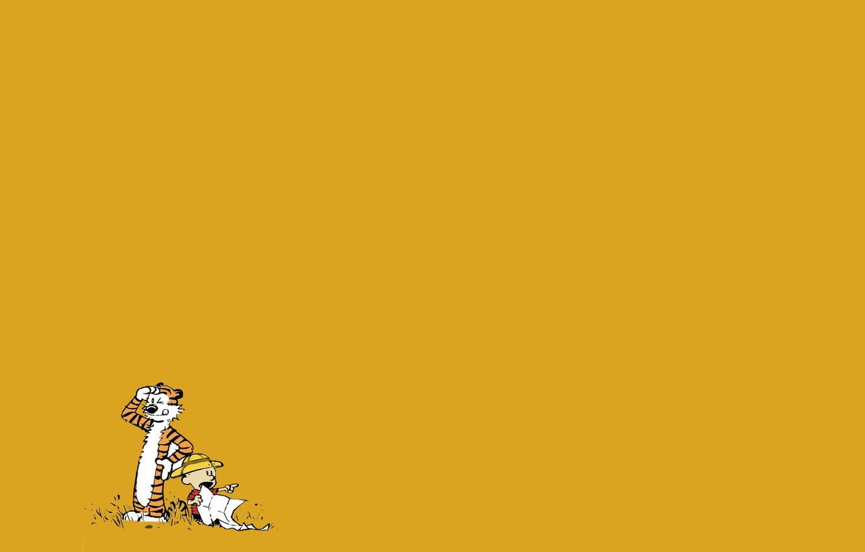 Photo wallpaper tiger, child, boy, comic, Calvin and Hobbes, Calvin and Hobbes, Calvin, Hobbs
