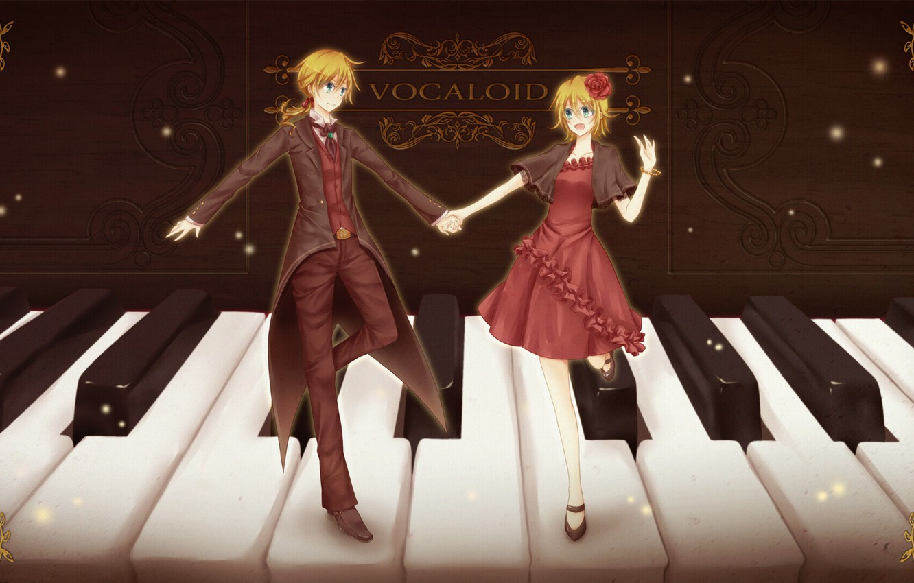 Photo wallpaper girl, keys, guy, piano, two, Vocaloid, Vocaloid, Kagamine Len, Kagamine Rin