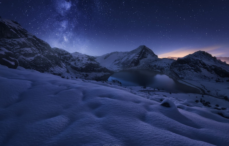 Photo wallpaper winter, stars, snow, mountains, night, lake