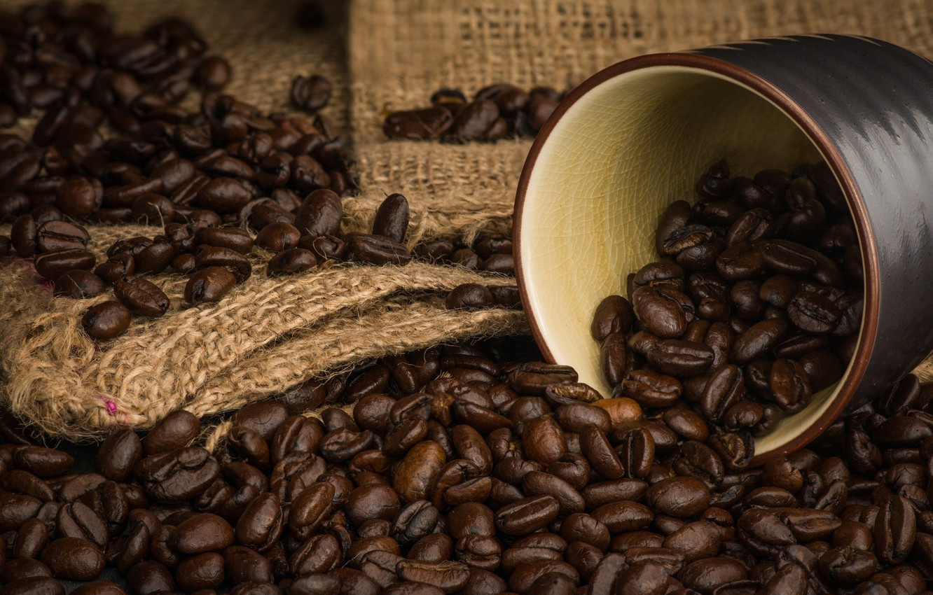 Photo wallpaper coffee, grain, aroma