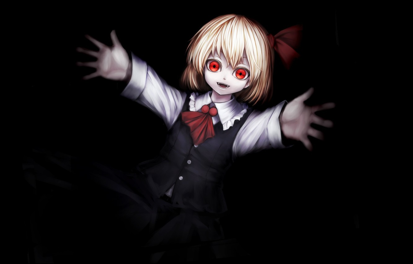 Photo wallpaper red eyes, baby, madness, art, in the dark, pulls a hand, Rumia, Touhou Project, obsessed, …