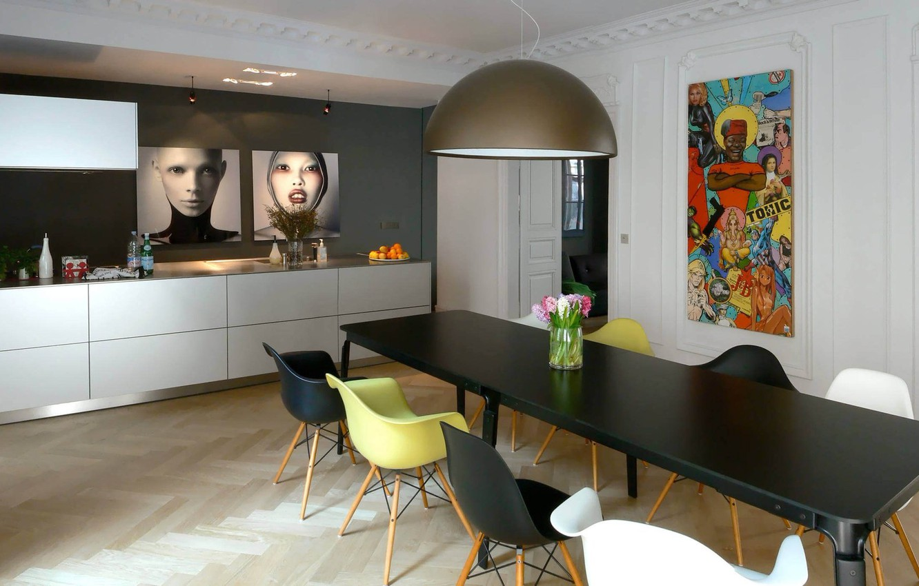 Photo wallpaper room, interior, dining room, Apartment in France