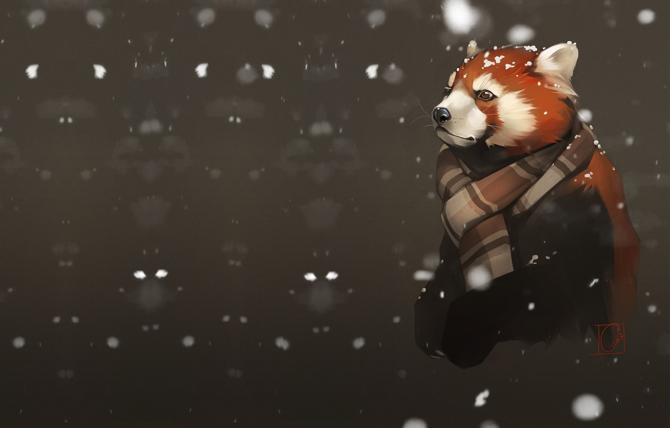 Photo wallpaper snow, red Panda, art, the first snow, Alexander Khitrov, GaudiBuendia