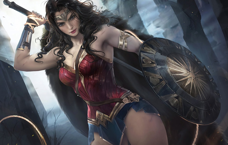 Photo wallpaper sword, Wonder Woman, demigod, armor, weapon, pretty, ken, blade, brunette, hero, shield, strong, bishojo, yuusha, …