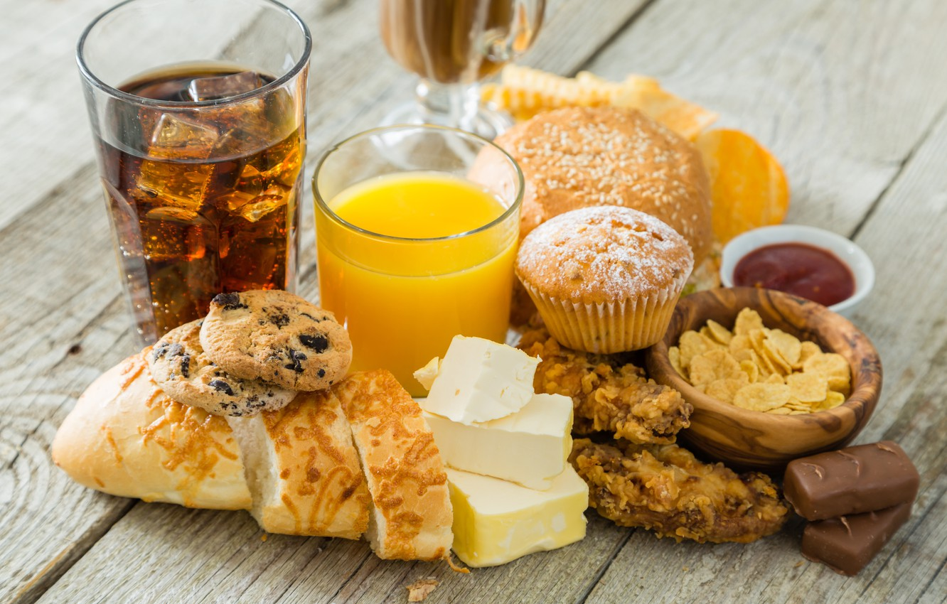 Photo wallpaper food, chocolate, cheese, cookies, juice, candy, drink, cupcakes
