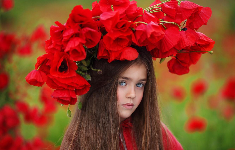 Photo wallpaper flowers, nature, Maki, girl, wreath