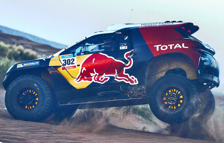 Photo wallpaper Sand, 2008, Sport, Speed, Race, Peugeot, Lights, Red Bull, 302, Rally, Dakar, Dakar, Rally, Sport, …