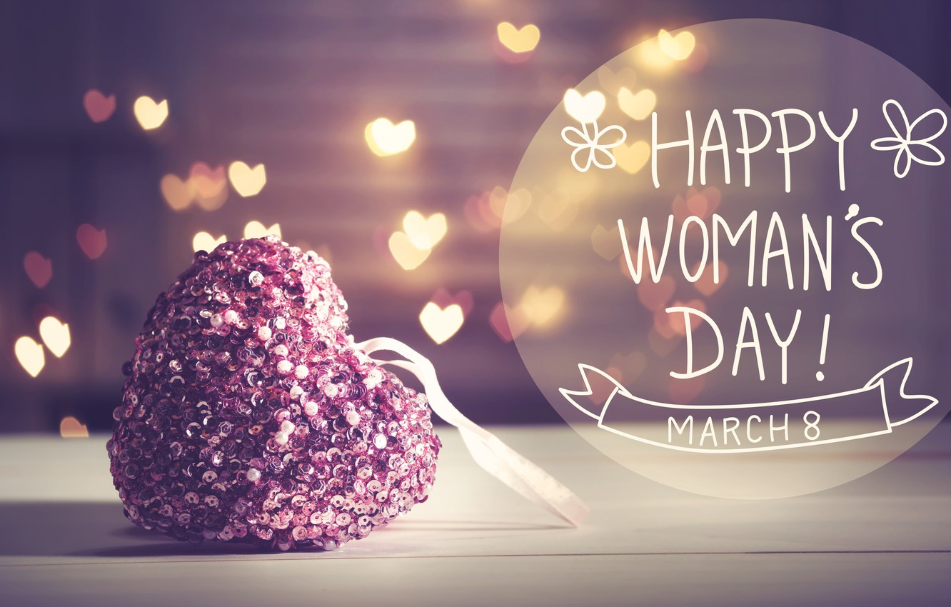 Wallpaper Gift March 8 Hearts Bokeh Womens Day Images