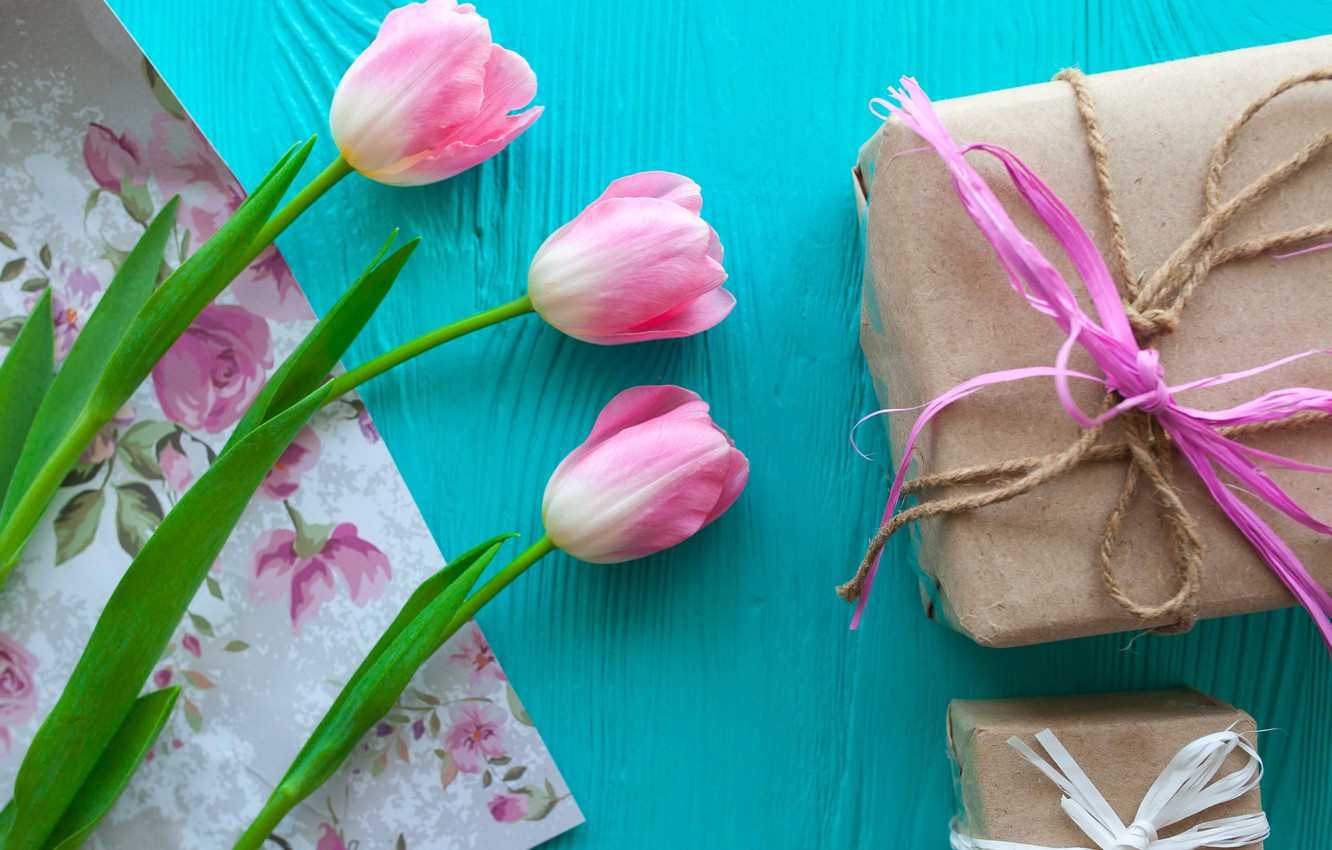 Photo wallpaper flowers, gift, tulips, pink, wood, pink, flowers, romantic, hearts, tulips, gift, spring