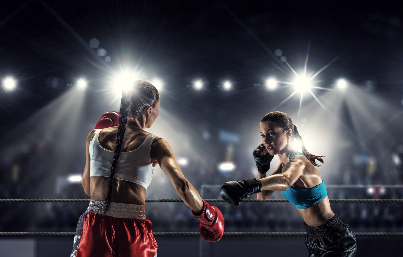 Wallpaper Light Girls Two Boxing Gloves Braids Briefs The Ring Ropes Brunette Tribune Floodlight Bokeh The Fight Mikey Rival Images For Desktop Section Sport Download