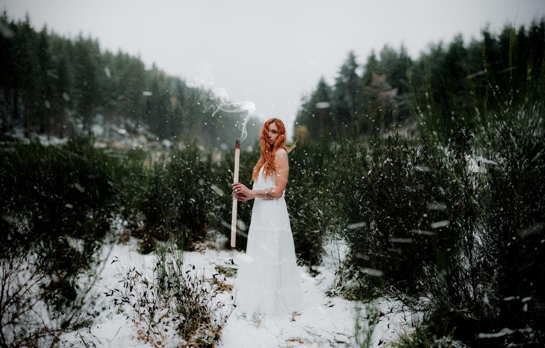 Photo wallpaper girl, nature, match
