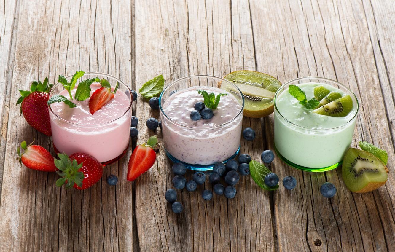 Photo wallpaper berries, kiwi, blueberries, strawberry, yogurt
