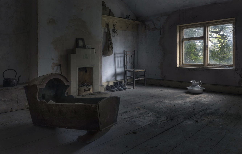 Photo wallpaper room, window, the cradle