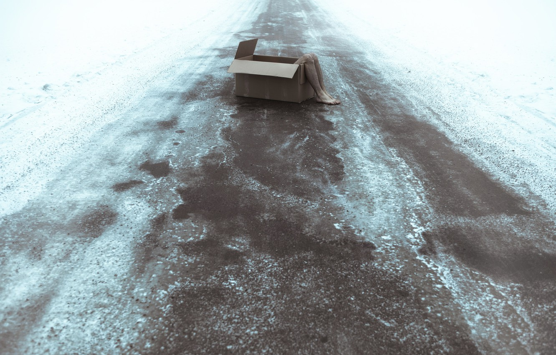 Photo wallpaper road, box, feet