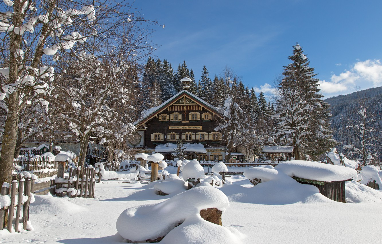 Photo wallpaper winter, snow, trees, house, Austria, village, the snow, Austria, winter's tale, Filzmoos, Filzmoos