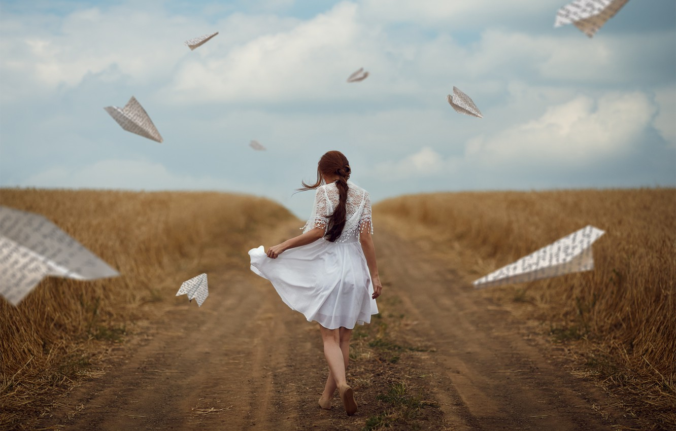 Photo wallpaper road, field, girl, mood, paper airplanes, Monica Lazar