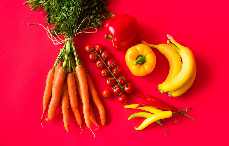 Photo wallpaper bananas, pepper, vegetables, tomatoes, carrots, tomatoes