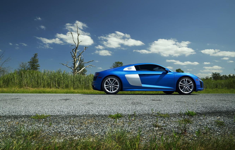 Photo wallpaper Audi, Blue, Side, View, V10