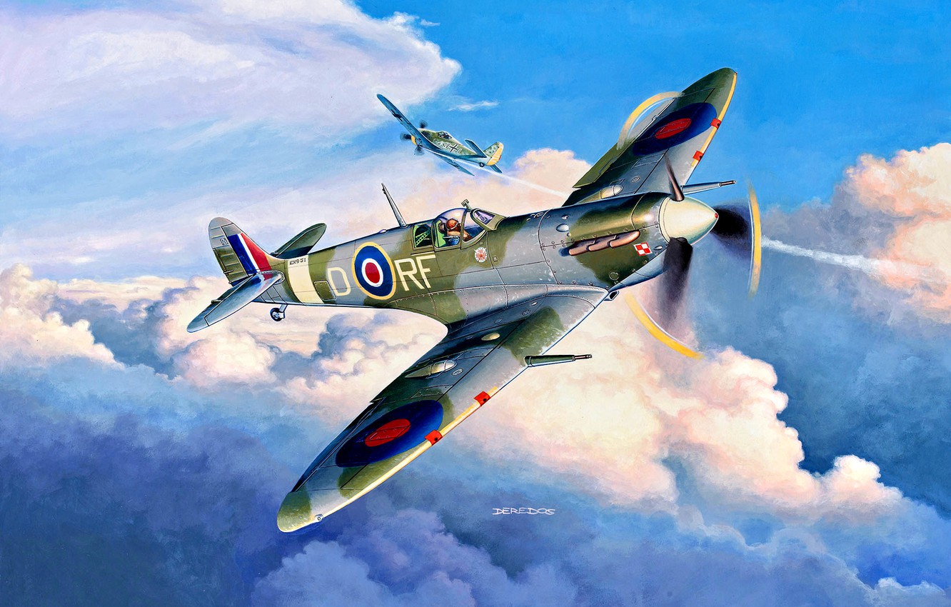 Photo wallpaper fighter, British, aircraft, painting, Supermarine, Royal Air Force, WWII, Fw.190A, Spitfire Mk.Vb