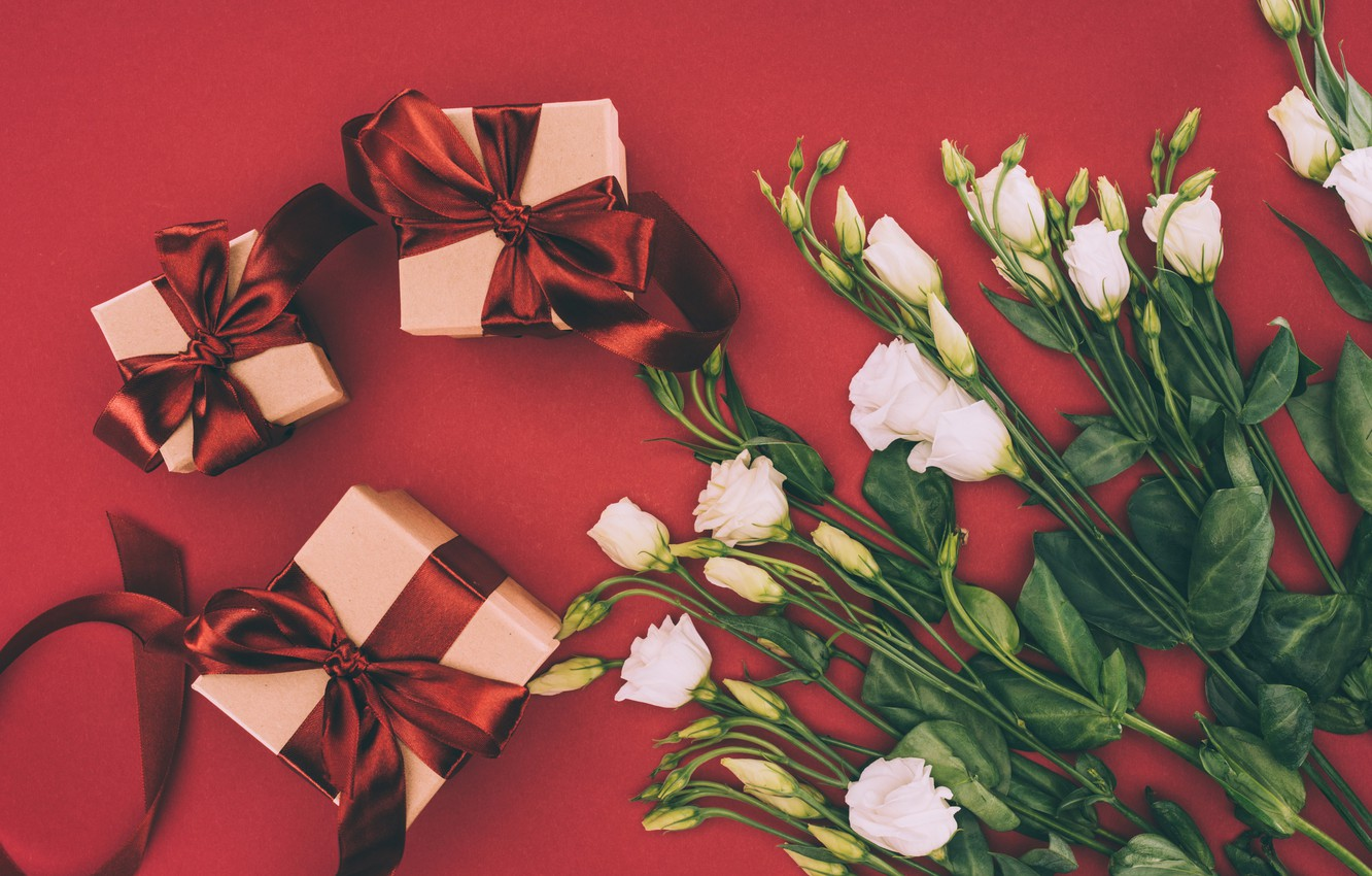 Photo wallpaper flowers, holiday, gift, bouquet, bow, eustoma