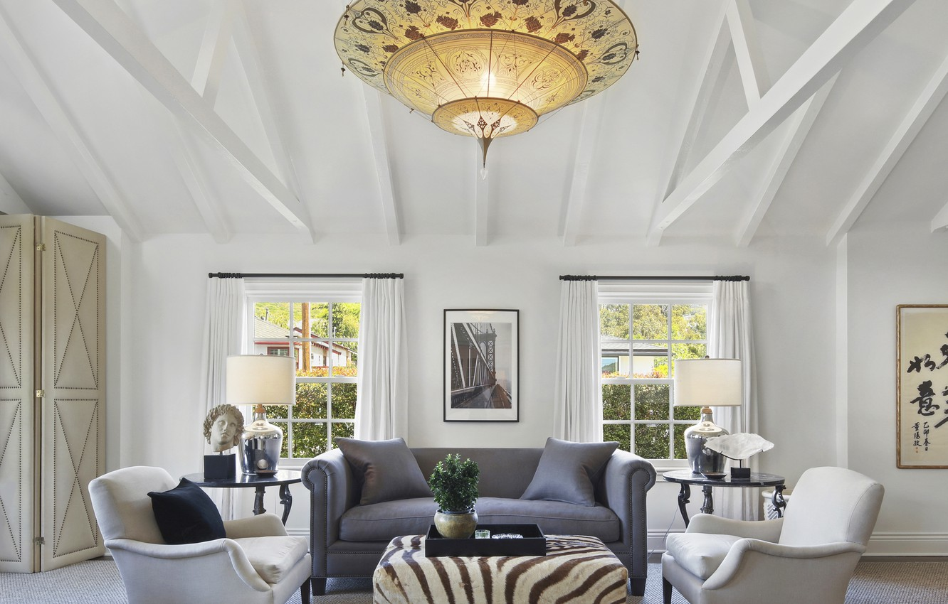 Photo wallpaper design, style, table, sofa, window, chairs, chandelier, mansion, Design, living room, room, lamps, Interior, Living