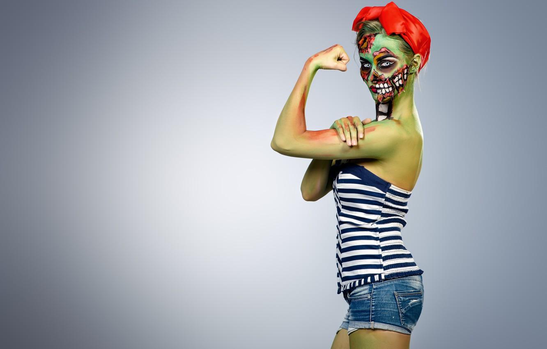Photo wallpaper zombie, model, pose, Makeup