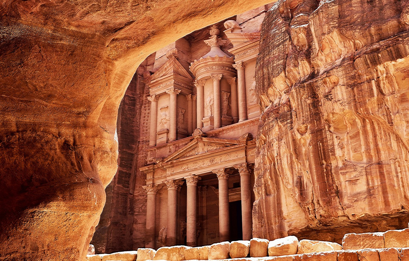 Photo wallpaper Peter, Rock, Petra, Desert, Jordan, Ancient