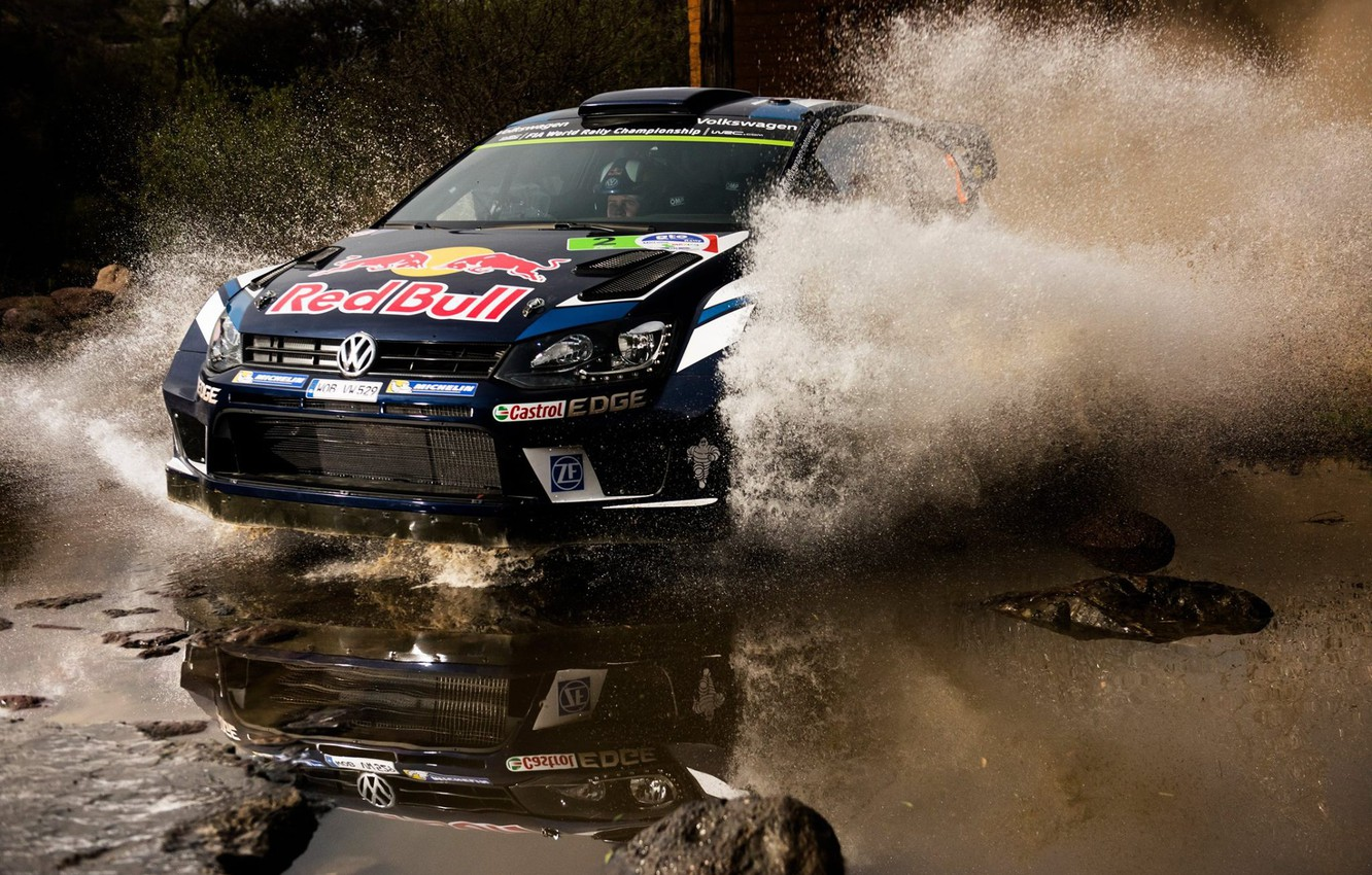 Photo wallpaper Reflection, Volkswagen, Squirt, WRC, Polo