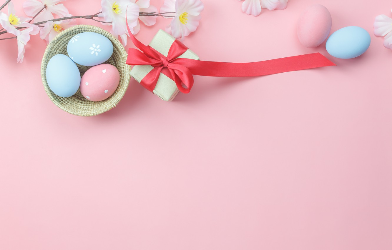 Photo wallpaper flowers, background, pink, gift, eggs, spring, Easter, wood, pink, blossom, flowers, gift, spring, Easter, eggs, …