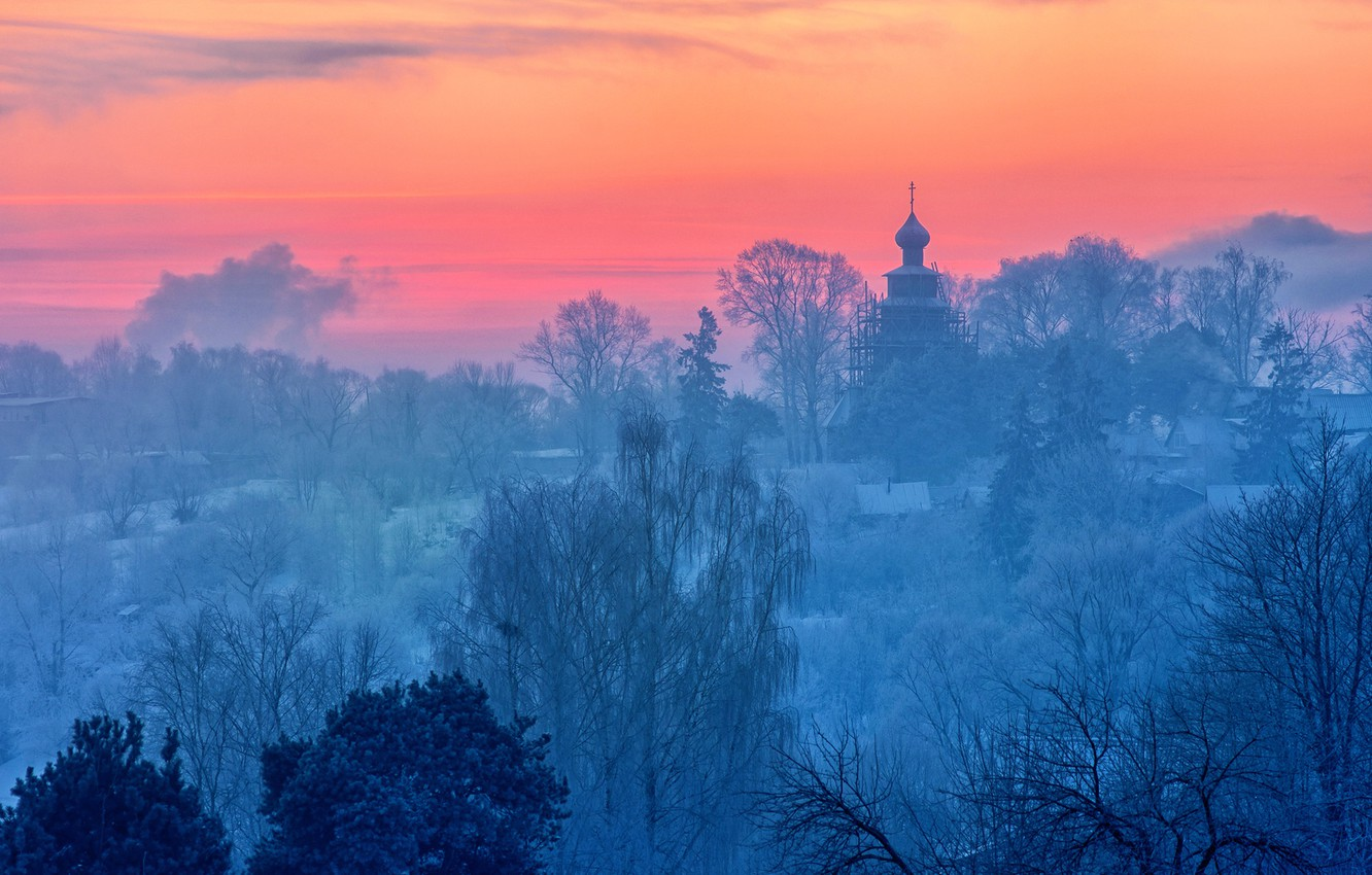 Photo wallpaper frost, early in the morning, Tver oblast, Torzhok, January 2017