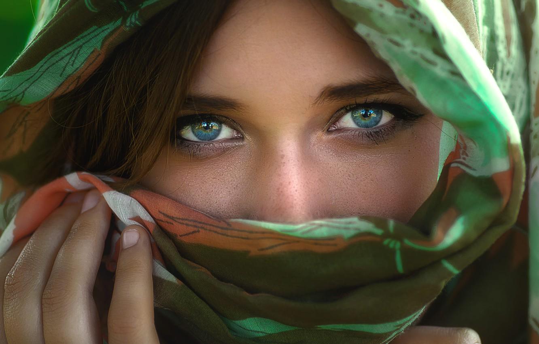 Photo wallpaper girl, photo, photographer, blue eyes, model, face, brunette, hand, scarf, portrait, close up, veil, looking …