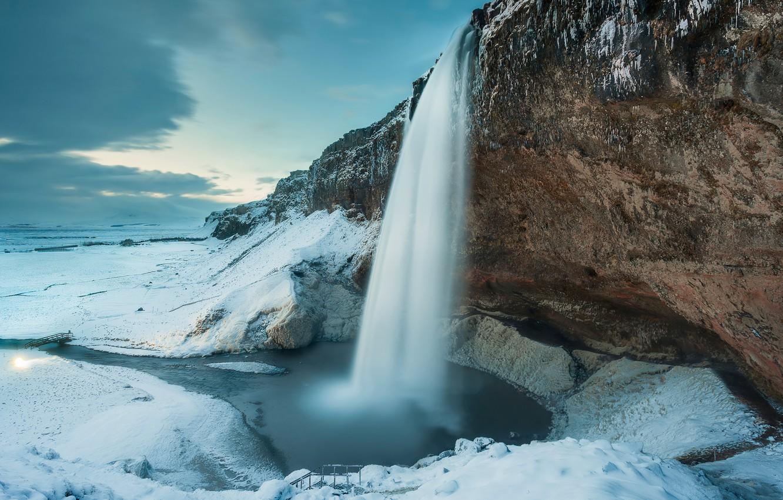 Photo wallpaper winter, snow, nature, rock, waterfall, Iceland