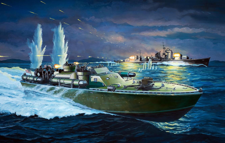 Photo wallpaper US NAVY, Patrol Torpedo boat, Torpedo boat, PT-109