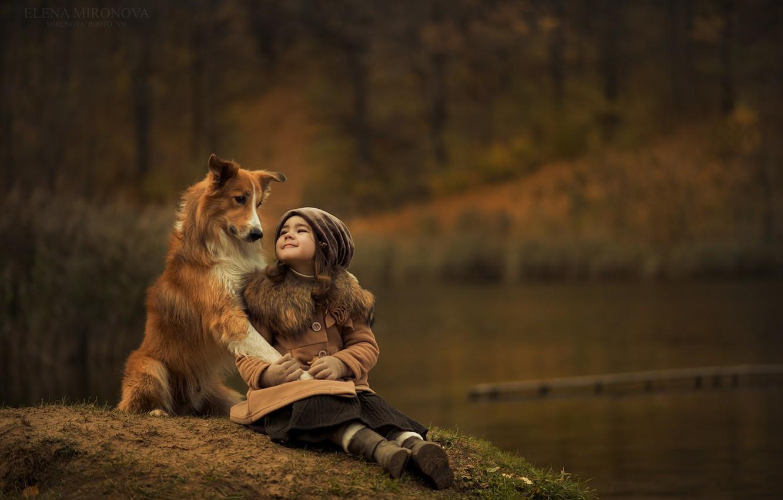 Photo wallpaper happiness, dog, friendship, girl
