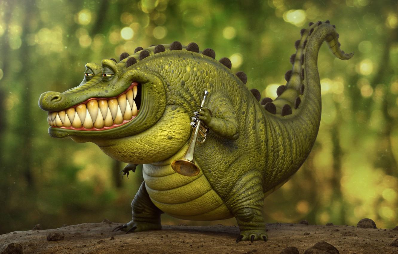 Photo wallpaper crocodile, art, pipe, artist, Louis, trumpeter, crocodile, Tyler Bolyard