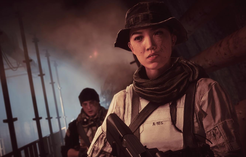 Photo wallpaper gun, game, weapon, woman, Battlefield, man, rifle, chinese, Battlefield 4, Battlefield IV