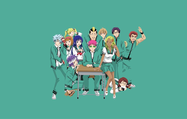 Photo wallpaper background, art, school, characters, Oh, this psychic Saiki,
