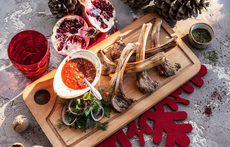 Photo wallpaper food, sauce, garnet, Goodies, ribs