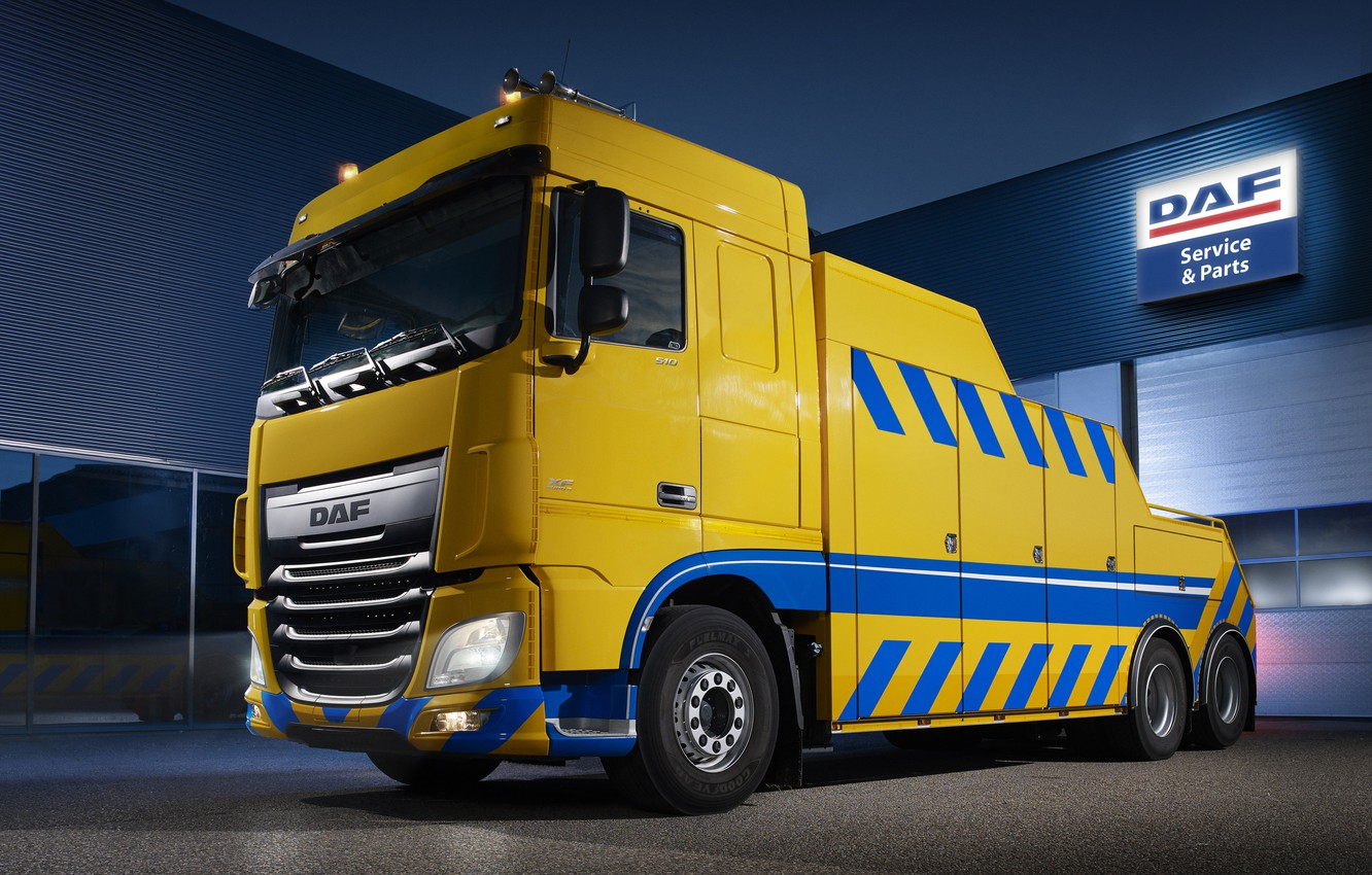Photo wallpaper light, yellow, the building, DAF, tow truck, DAF, Space Cab, 2016, 6x2, platform, Euro6, DAF …