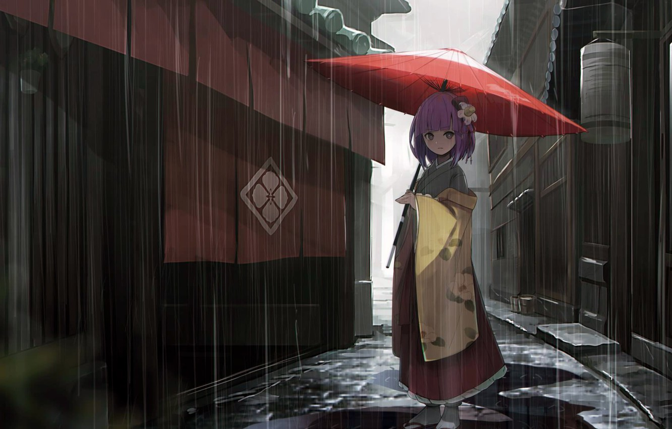 Photo wallpaper girl, rain, dress, umbrella, anime, street, houses, Touhou, alley, kimono, purple hair, anime girl, Hieda …