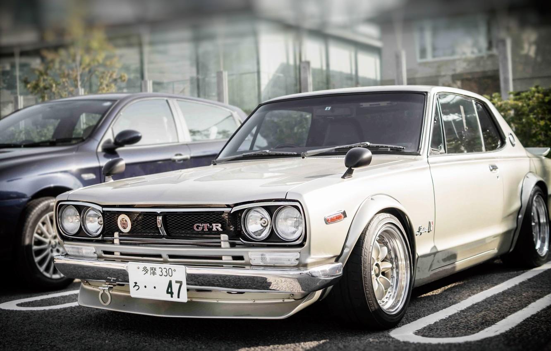 Photo wallpaper Auto, White, Machine, Nissan, Nissan, Lights, Car, 2000, Skyline, Nissan Skyline, The front, 2000GT, Japanese, …