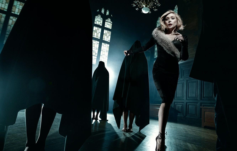 Photo wallpaper people, castle, mystic, figure, dress, hairstyle, blonde, Elizabeth Olsen, Elizabeth Olsen