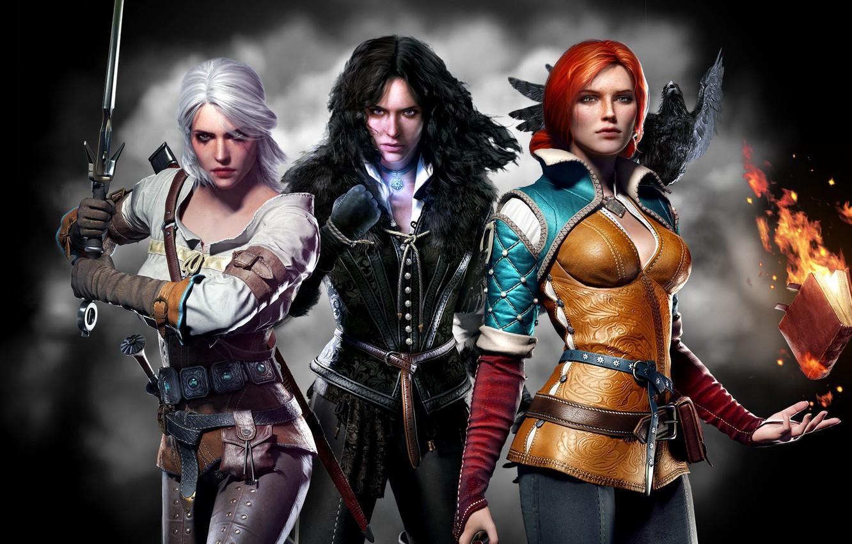Photo wallpaper background, girls, sword, book, The Wild Hunt, Raven, trio, crow, Trio, Triss Merigold, The Witcher …