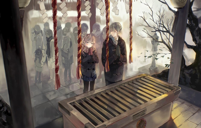 Photo wallpaper winter, people, rope, Japan, scarf, jacket, temple, two, prayer, Mikak both de Shinkoukei, Engaged to …