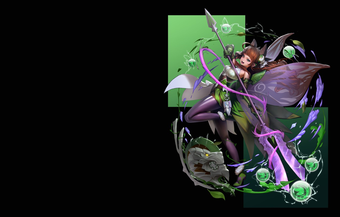 Photo wallpaper elements, fantasy, art, staff, Valkyrie, If marriage, green Valkyrie