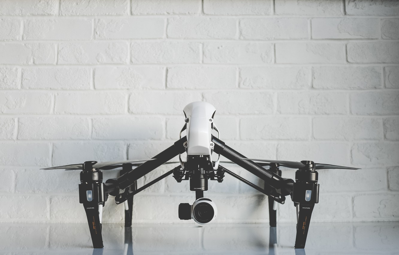 Photo wallpaper camera, brick wall, the camera, drone, propellers, drone, quadcopter, DJI, quadcopter, DJI Inspire One, drone ...