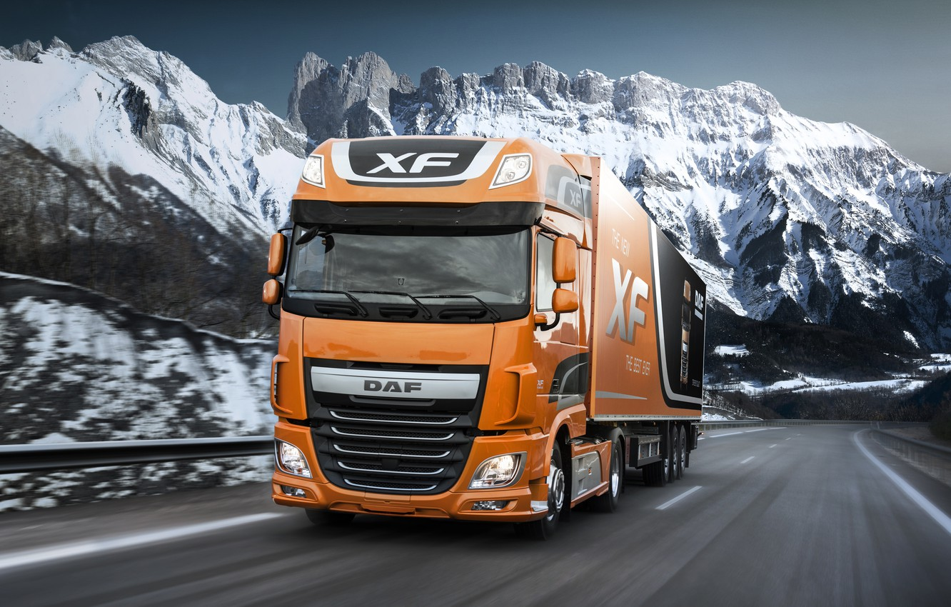 Photo wallpaper road, snow, mountains, orange, movement, the fence, DAF, tractor, DAF, Super Space Cab, the trailer, …