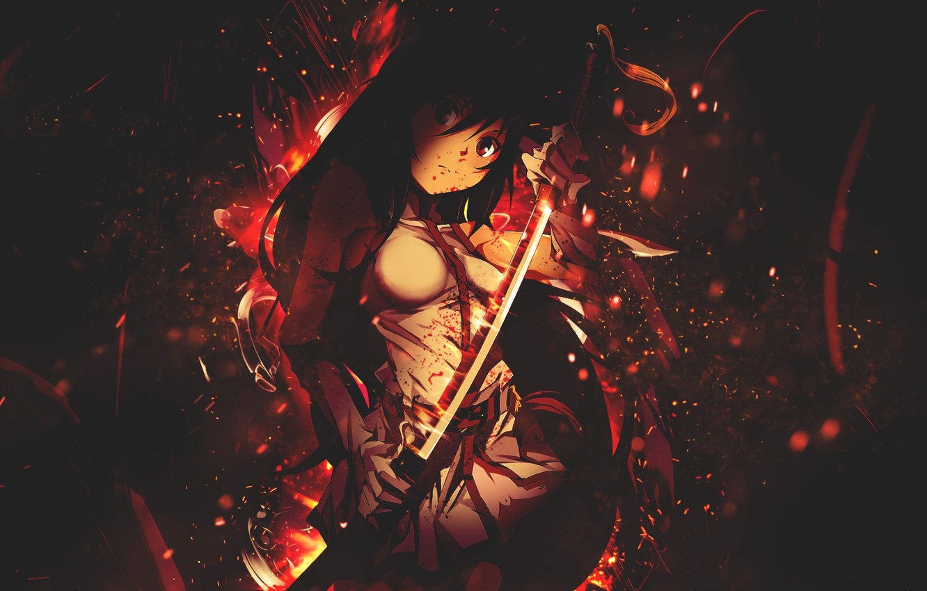 Photo wallpaper girl, background, blood, sword
