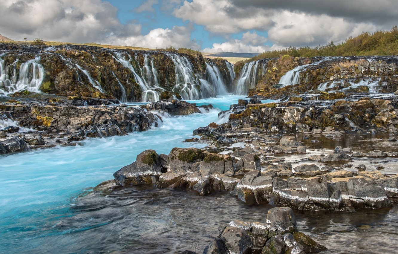 Photo wallpaper water, waterfall, stream, Iceland, Iceland, Bruarfoss