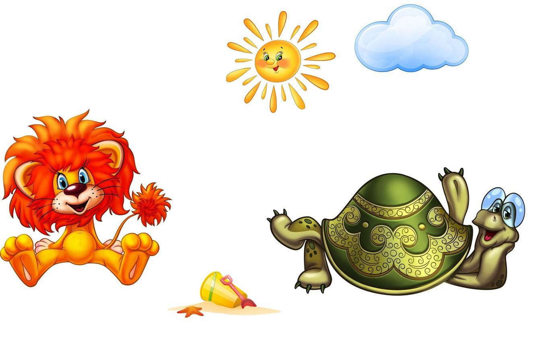 Photo wallpaper mood, cartoon, turtle, art, picture, the sun, lion, children's